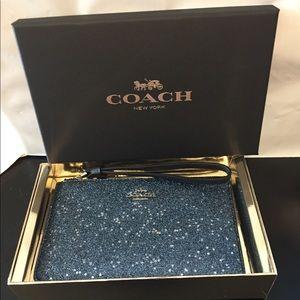 Coach Glitter Star wristlet BLUE